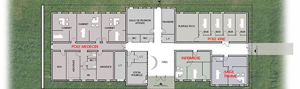 Plan d'agencement de maison de santé